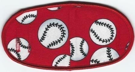 Baseballs on Red- No Strap Children Eye Patch