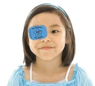 girl with temporary eye patch