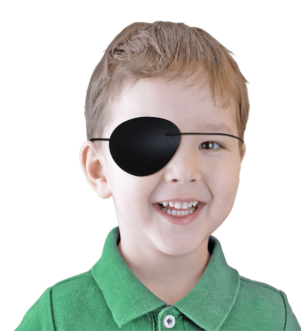 boy wearing black pirate eye patch