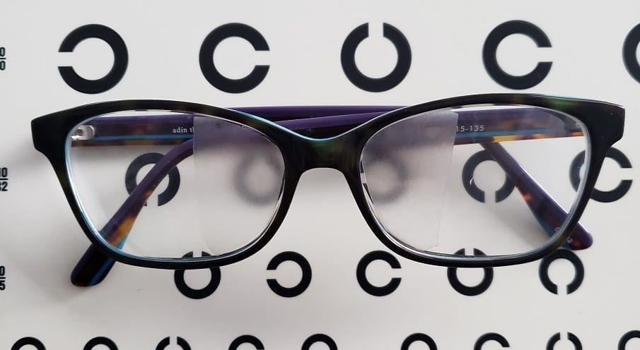binasal occlusion and glasses